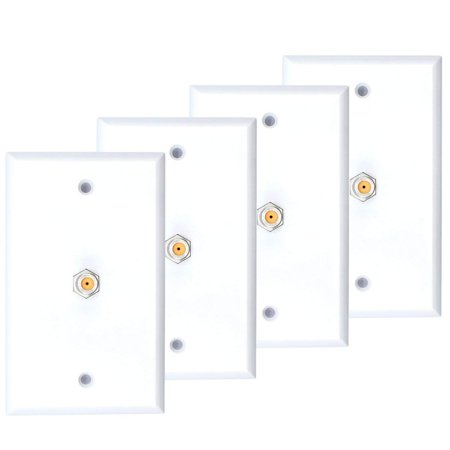 4 Pack White Single Coax Cable Wall Plate 1-Gang F Type Direct TV Approved (Double Gang Coax Wall Plate)