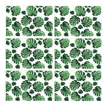 MKHERT Green Tropical Palm Monstera Leaves Hawaiian Jungle Beach Theme Placemats Table Mats for Dining Room Kitchen Table Decoration 12x18 inch,Set of 6