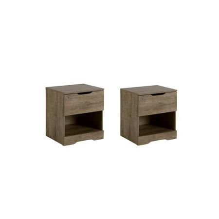 - Home Square Bedroom Furniture Set of 2 Nightstands in Weathered Oak