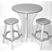 3 Pc Outdoor Pub Set in Gray and White Plastic