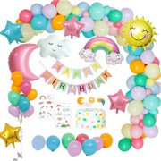 MMTX Birthday Decorations Girls, Pastel Rainbow Party Decoration Balloons with Happy Birthday Banner, Clouds Rainbow Sun Moon Star Foil Balloon for Girls Women Kids Birthday Baby Shower Party