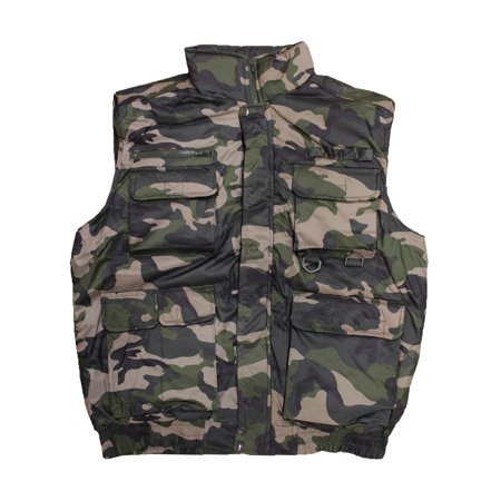 Camo Olive Mens Winter Outdoor Cotton Padded Waterproof Vest Multi Pocket - Bullet Proof Vest Halloween