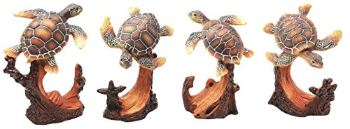 Ocean Marine Wild Life Sea Turtles Swimming Under The Sea Reefs Collectible Figurines Set Of 4 Turtle Decor by Gifts & Decors