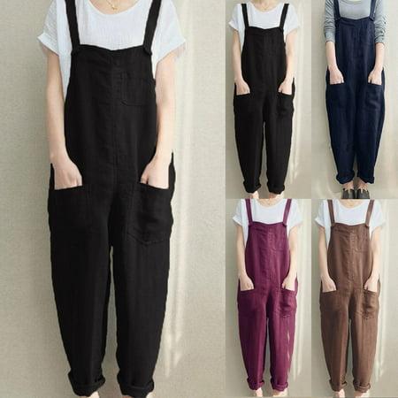 Multitrust Women's Casual Loose Linen Cotton Jumpsuit Dungarees Playsuit Trousers Overalls Cotton Soft Overalls