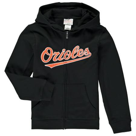 Baltimore Orioles Youth Wordmark Full-Zip Hoodie - Black Baltimore Orioles Mens Hooded Sweatshirt