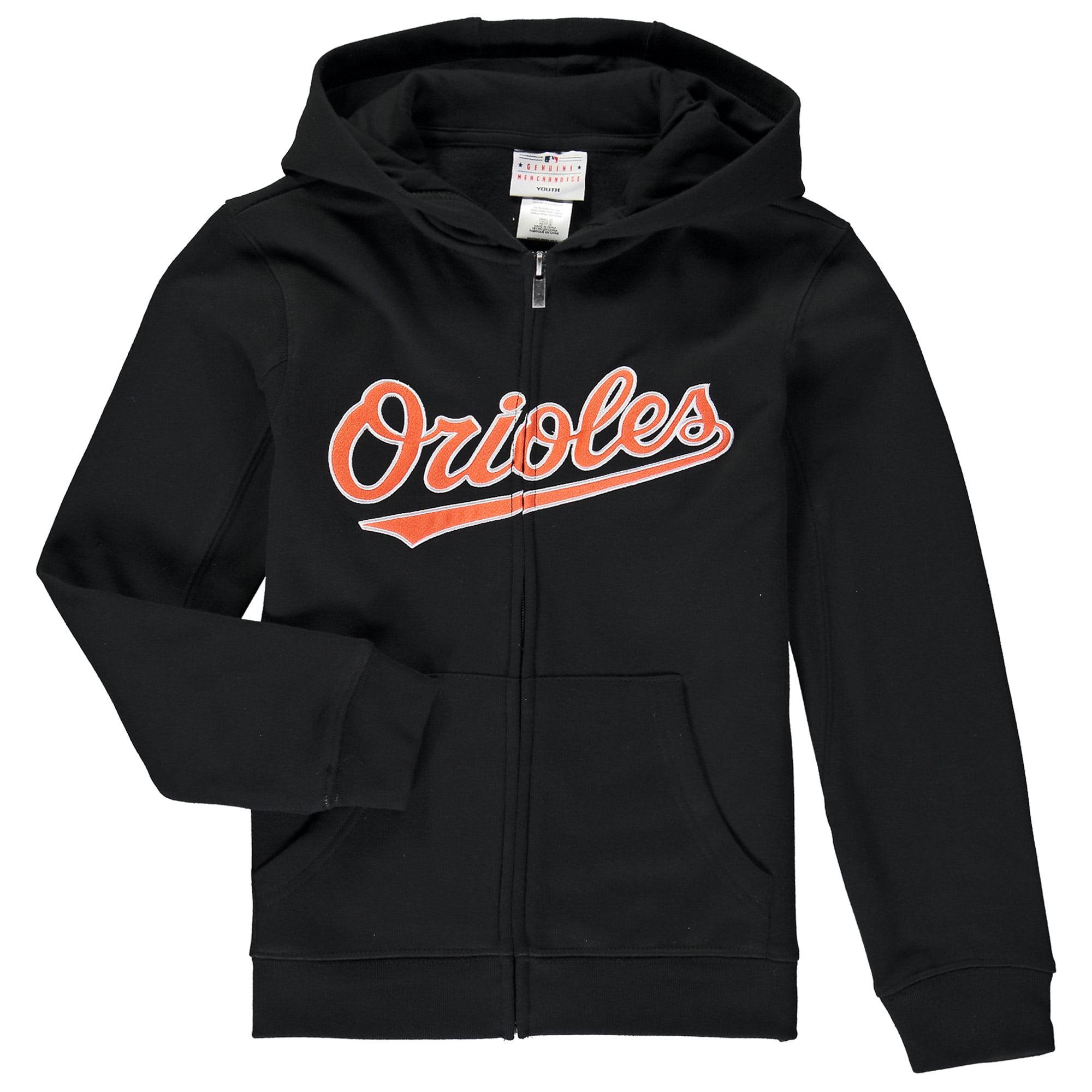 Baltimore Orioles Youth Wordmark Full-Zip Hoodie - Black