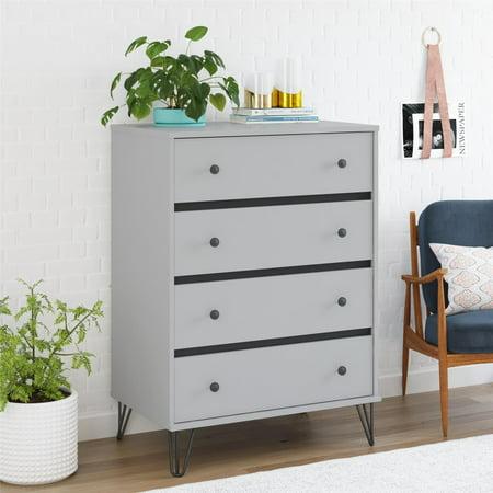 Novogratz Owen Mid-Century Modern 4 Drawer Dresser, Dove Gray