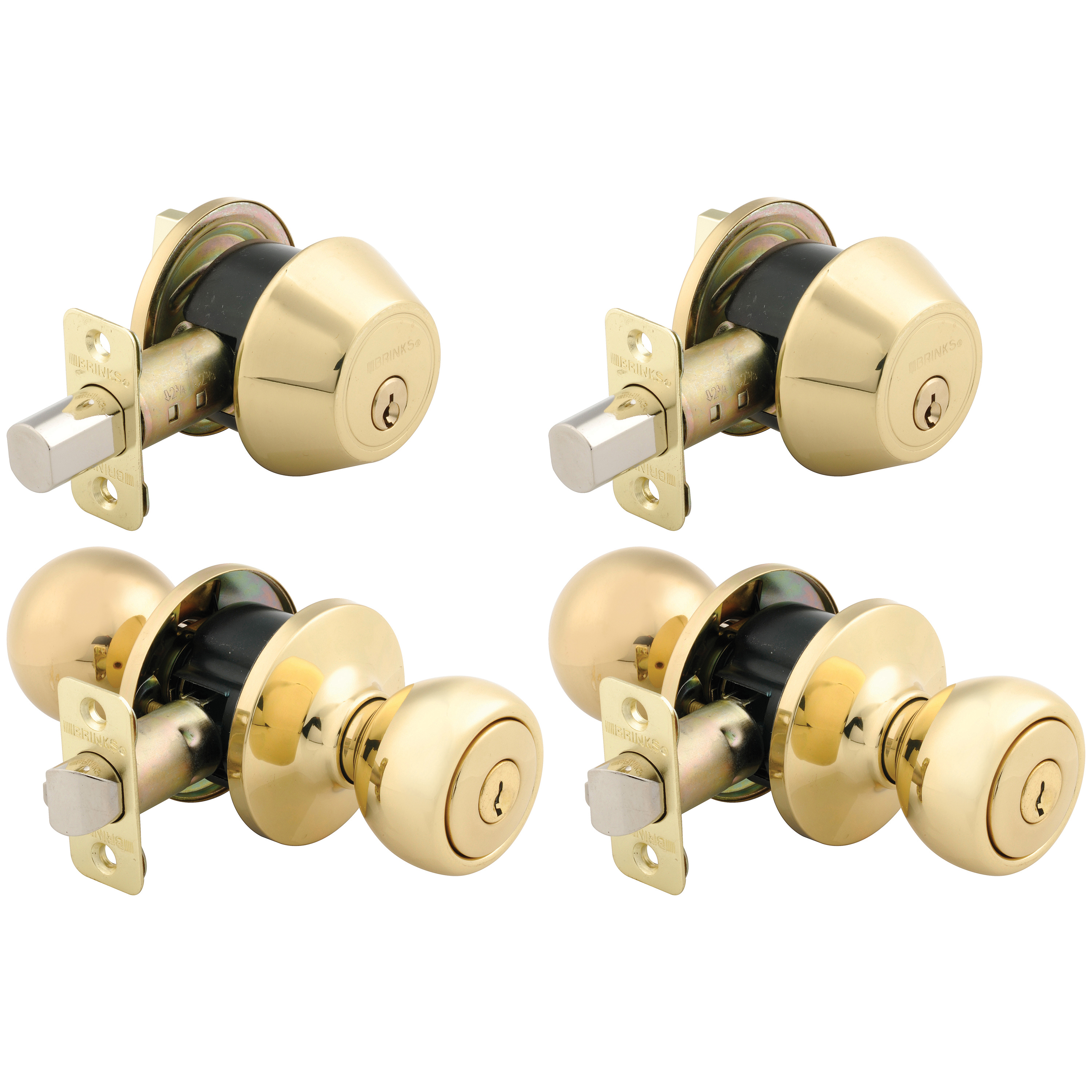 Brink's 2 Keyed Entry Door Knob And 2 Deadbolt Combo Pack, Polished Brass