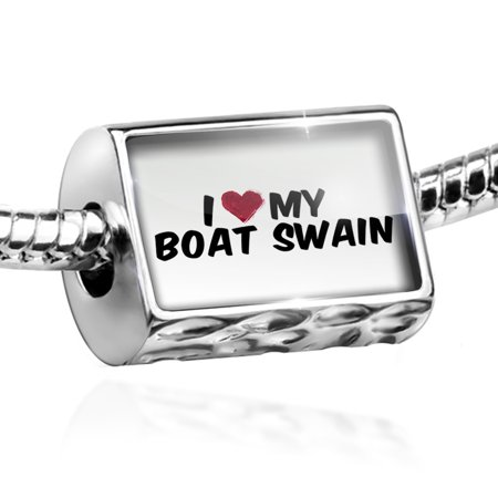 Bead I Heart Love My Boat Swain Charm Fits All European Bracelets