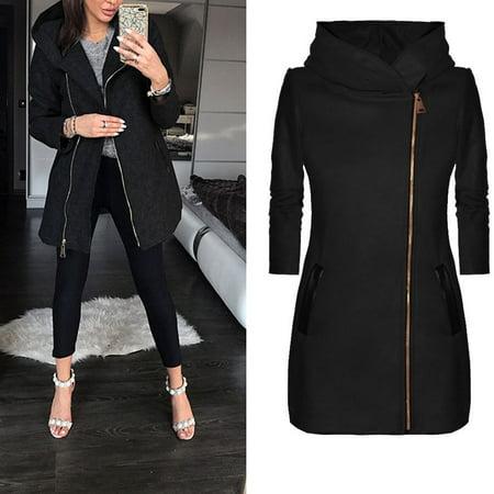 High Flyer Jacket (ladies winter high collar hooded colorblock zipper long sleeve coat jacket )