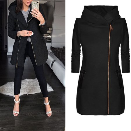 Bocgsfdfgns - ladies winter high collar hooded colorblock zipper long sleeve coat jacket