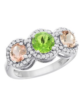 10K White Gold Natural Peridot & Morganite Sides Round 3-stone Ring Diamond Accents, size 5