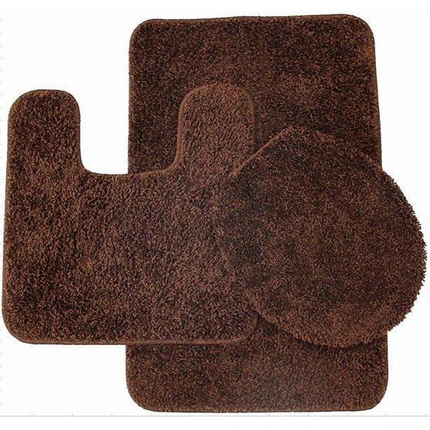 Layla 3 Piece Shag Bathroom Rug Set Bath Mat Contour And Seat Cover Walmart Com Walmart Com