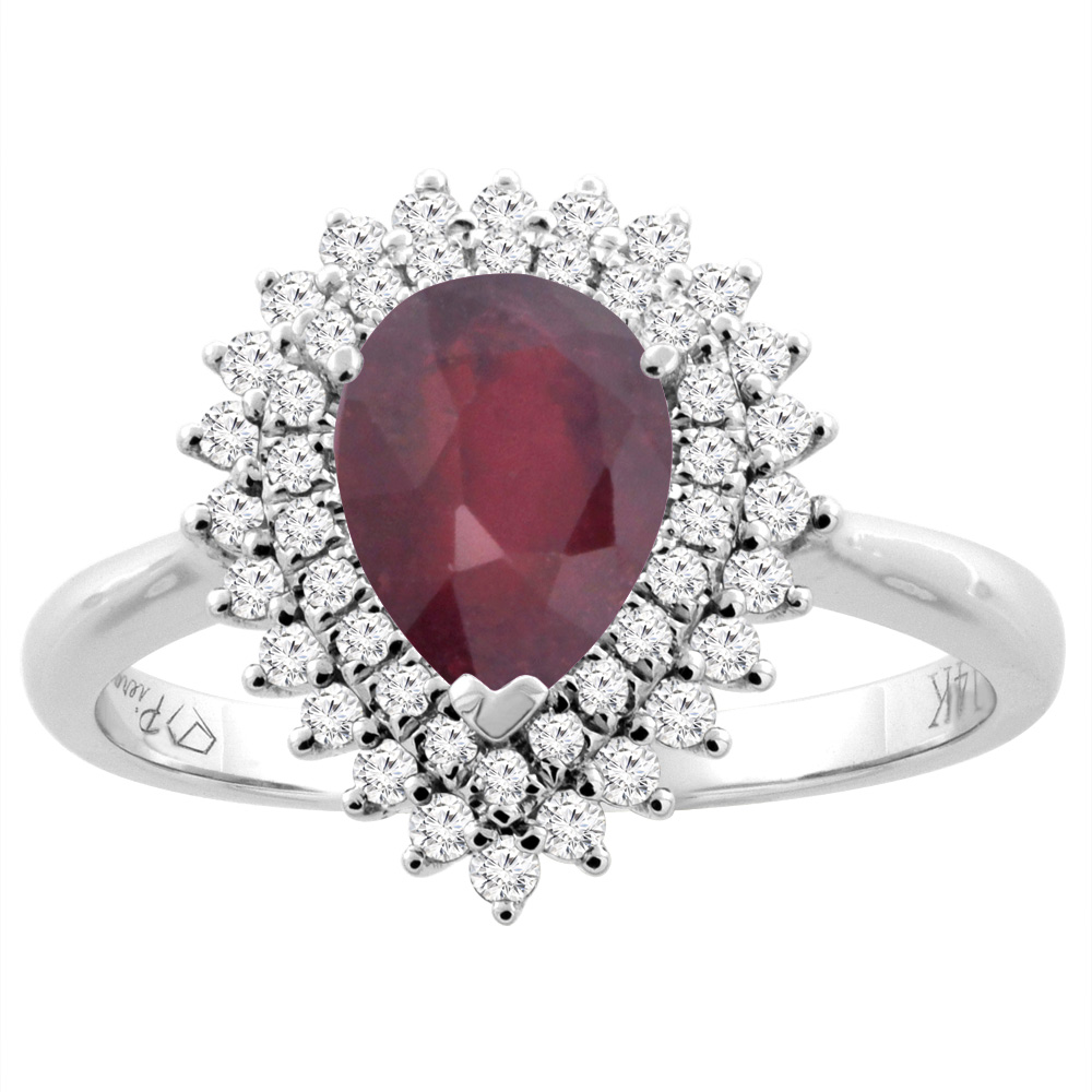 14K White Gold Enhanced Ruby Ring Pear Shape 8x6 mm Diamond Accents, size 6 by Gabriella Gold