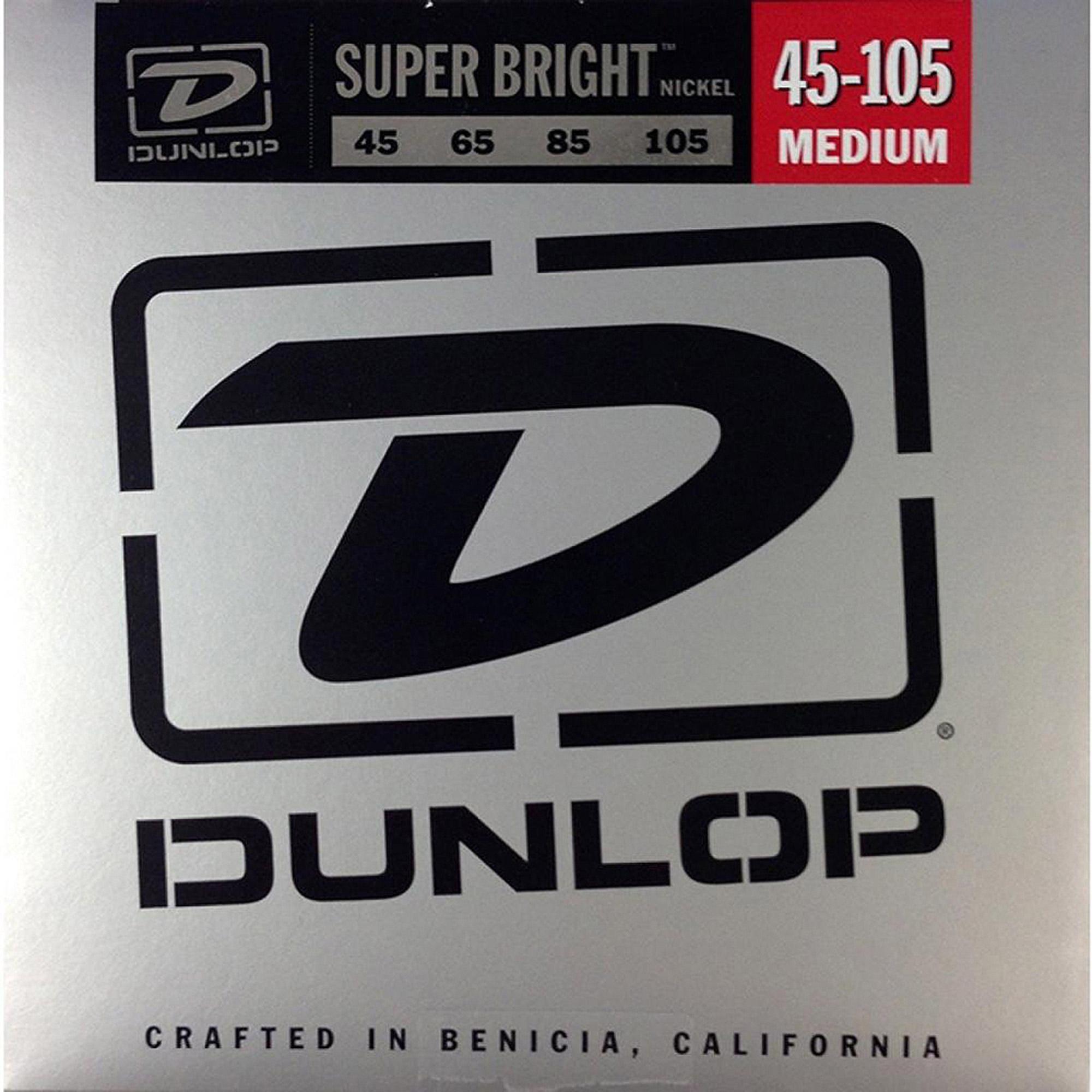 Dunlop DBSBN45105 Super Bright Nickel-Plated Steel Bass 4 String Set, .45-.105