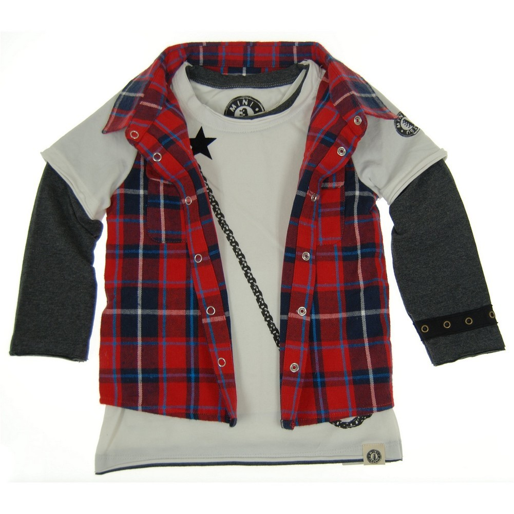 Mini Shatsu Baby Boys Red Plaid Pocket Chain Screen Print...