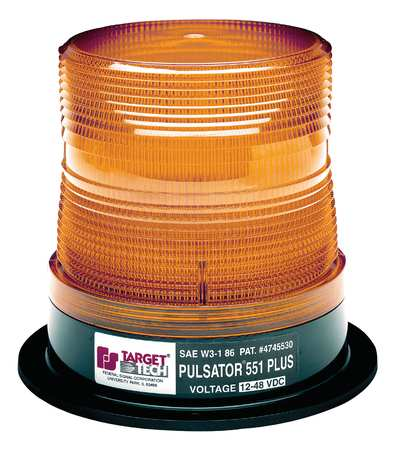 Class 1 Permanent//1 Pipe Mount with Tall Federal Signal 250121-02 UltraStar US5 Strobe Beacon Amber Dome