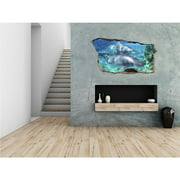 Startonight 3D Mural Wall Art Photo Decor Dolphins in Water Amazing Dual View Surprise Medium Wall Mural Wallpaper for Bedroom Beach Collection Wall Paper Art 32.28 inch By 59.06 inch
