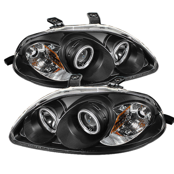 Spyder Honda Civic 96-98 Projector Headlights - CCFL Halo - Black - High H1 (Included) - Low H1 (Included)