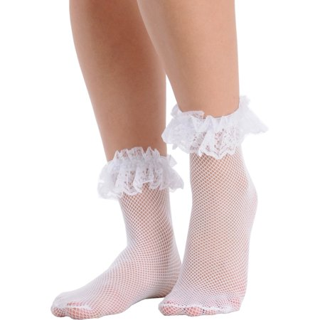 2a2a271eda677 SummitFashions - Womens Fishnet Ankle Socks Ruffle Lace Trim Crew Anklet  Black White or Red - Walmart.com