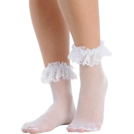 wide range sale retailer no sale tax SummitFashions - Womens Fishnet Ankle Socks Ruffle Lace Trim ...