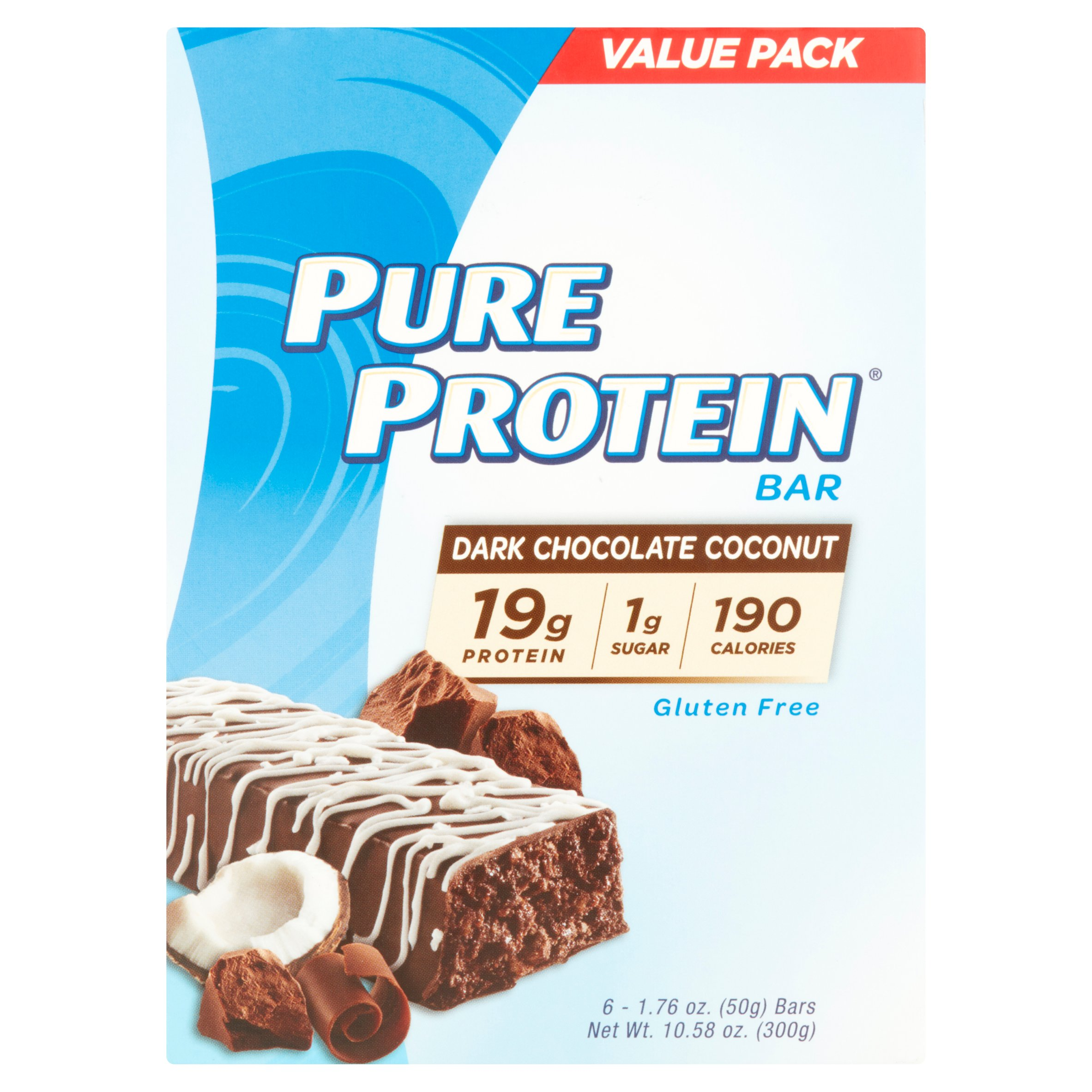 Pure Protein Bar, Dark Chocolate Coconut, 19g Protein, 6 Ct