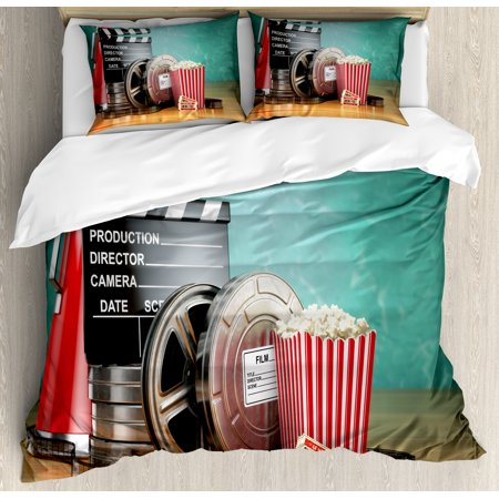 Movie Theater Queen Size Duvet Cover Set, Production Theme 3D Film Reels Clapperboard Tickets Popcorn and Megaphone, Decorative 3 Piece Bedding Set with 2 Pillow Shams, Multicolor, by - Movie Director Megaphone