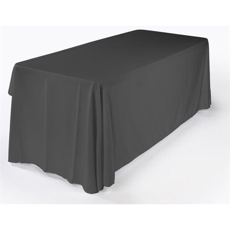 6ft. Portable Utility Table with 3-Sided Black Polyester Tablecloth, Trade Show Table Folds Down for Easy Storage (FOLD72ECBK) ()