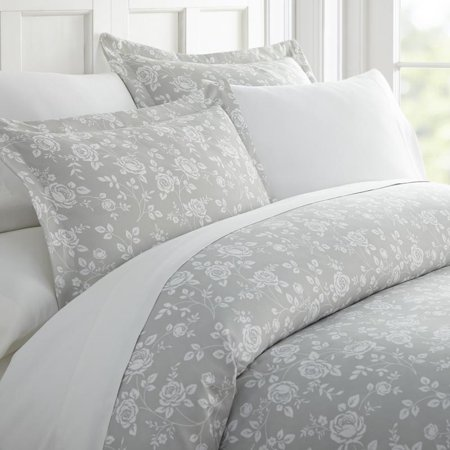 Noble Linens Premium Ultra Soft Rose Gray Pattern 3 Piece Duvet Cover (Grey Duvet Cover)