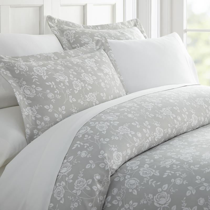 Noble Linens Premium Ultra Soft Rose Gray Pattern 3 Piece Duvet Cover Set