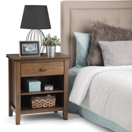 WyndenHall  Stratford Solid Wood 24 inch Wide Contemporary Bedside Nightstand Table in Medium Auburn Brown