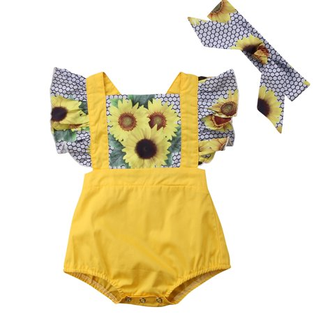 Infant Baby Girls Ruffles Sunflower Romper Fake two pieces Jumpsuit With Headband Outfits](Infant Tuxedo Romper)