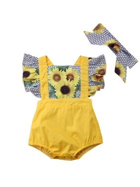 af713183e0bf Product Image Infant Baby Girls Ruffles Sunflower Romper Fake two pieces  Jumpsuit With Headband Outfits. Gaono