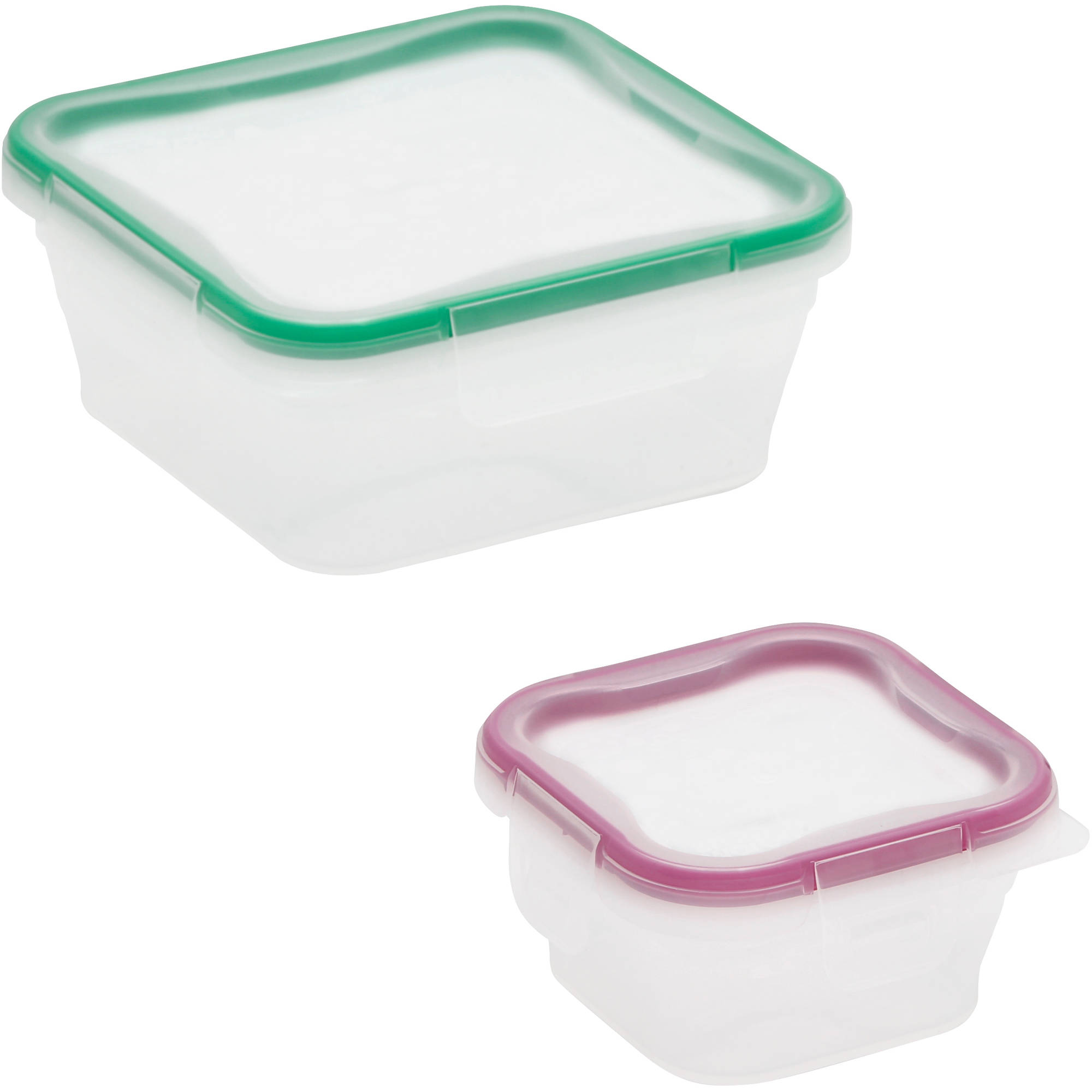 Snapware Total Solution 4-Piece Plastic Square Container Value Pack, Clear