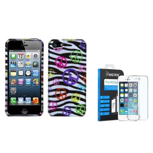 iPhone SE / 5S / 5 Peace and Zebras (2D Silver) Case by Insten (with Shatter-Proof Tempered Glass Screen Protector)
