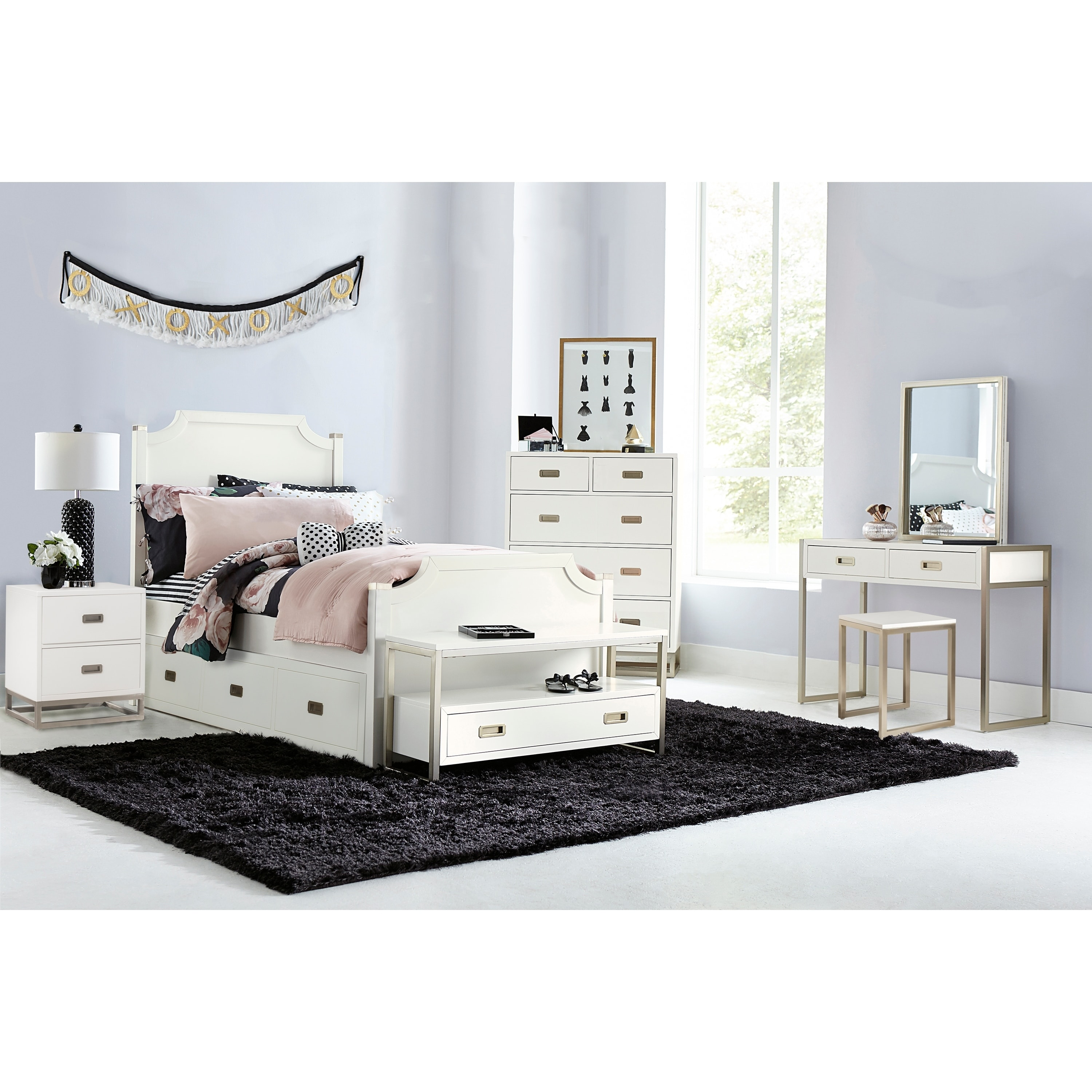 NE Kids Hillsdale Tinley Park Full Panel Bed With Trundle, Soft White