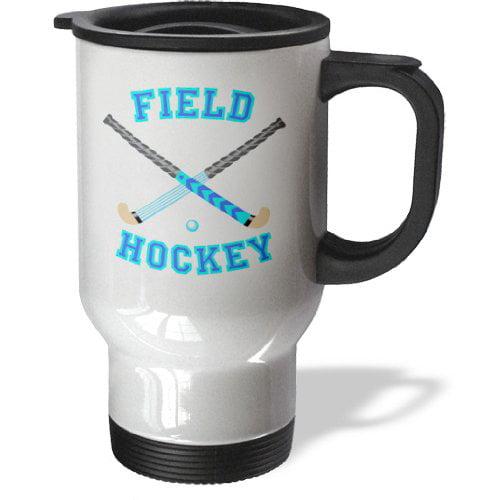 3dRose Blue And Aqua Field Hockey Sports Design, Travel Mug, 14oz, Stainless Steel