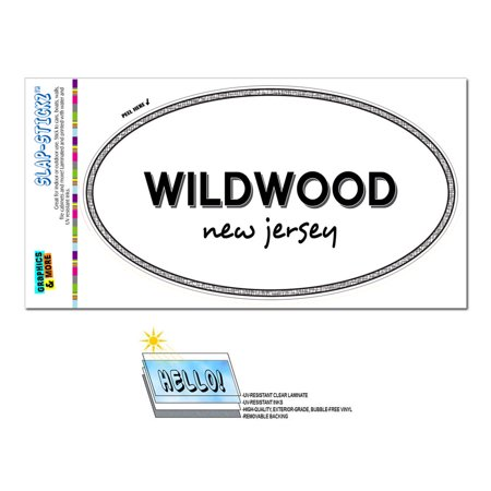 Wildwood, NJ - New Jersey - Black and White - City State - Oval Laminated Sticker ()