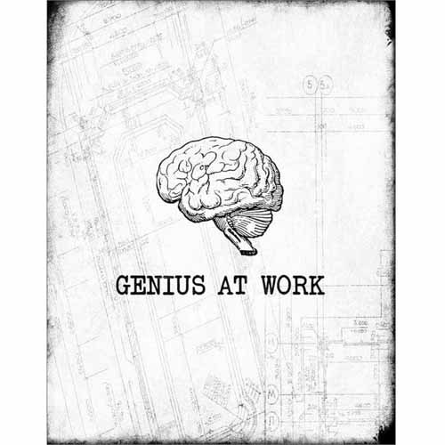 Genius At Work Brain Distressed Modern Contemporary Trendy Inspirational Typography Black & White Canvas Art by Pied Piper Creative