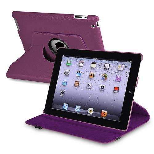 Insten 360-degree Swivel Leather Case For Apple iPad 2 / 3 / 4, Purple