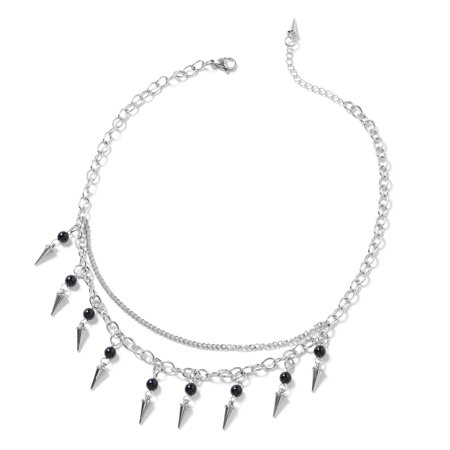 Stainless Steel Black Agate Necklace for Women Jewelry Gift 17.5