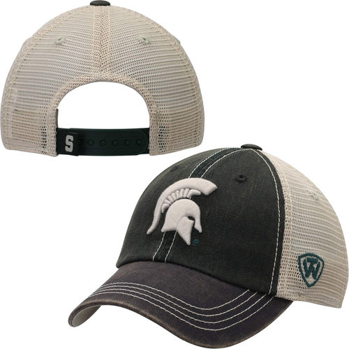 Youth Top of the World Green Michigan State Spartans Offroad Trucker Snapback Hat