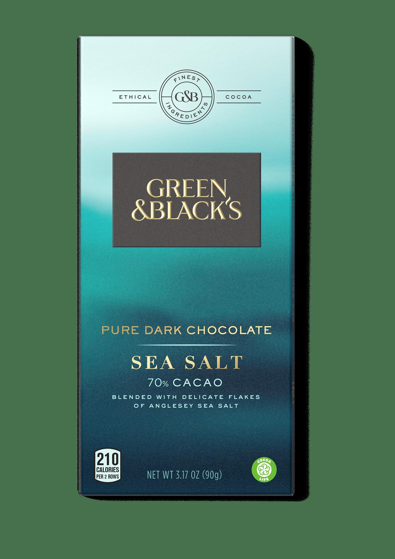 Green and Black's Sea Salt 70% Cacao Pure Dark Chocolate 3.17 oz. Bars by Mondelez