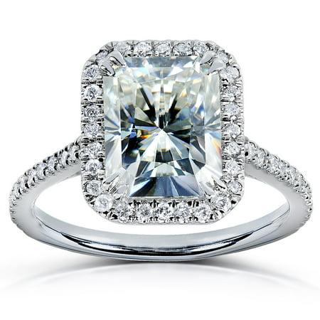 Radiant-cut Moissanite & Diamond Engagement Ring 3 Carat (ctw) in - Diamond Platinum Engagment Ring Setting