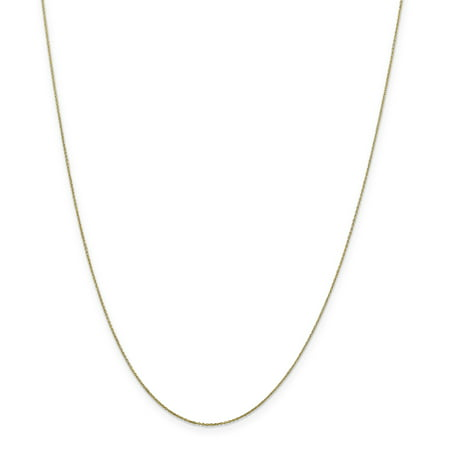 10k Yellow Gold .6mm Solid Link Cable Chain Necklace 24 Inch Pendant Charm Round Gifts For Women For Her
