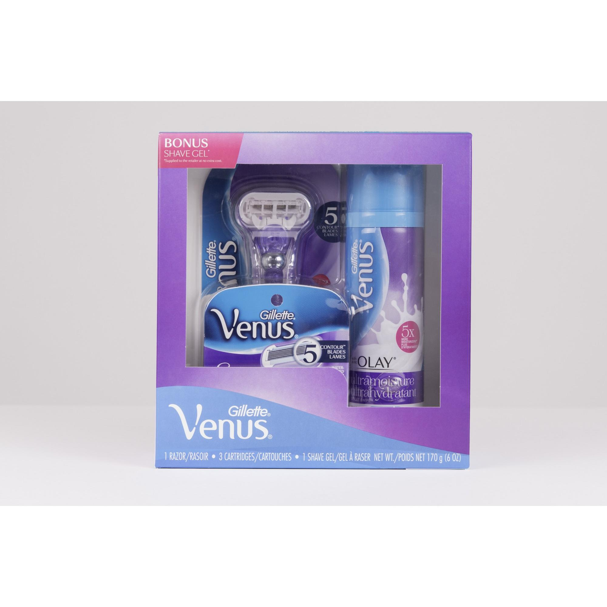 Gillette Venus Swirl Regimen Pack includes 1 Razor, 3 Cartridges and 1 Shave Gel