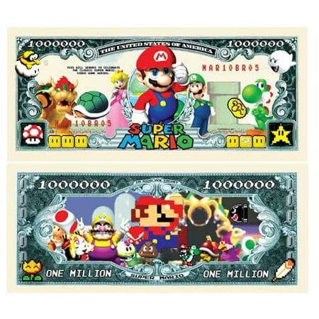 Set of 5 - Super Mario Brothers Million Dollar Bill, This Special Edition Collectible Dollar Bill CERTIFICATE SERVES TO RECOGNIZE SUPER MARIO.., By American Art Classics ()