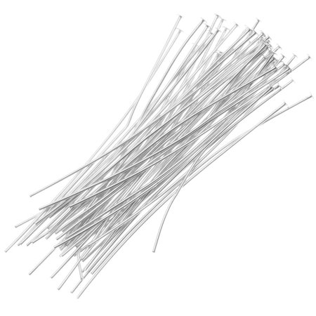 - Silver Plated Head Pins 1 Inch 24 Gauge (50)