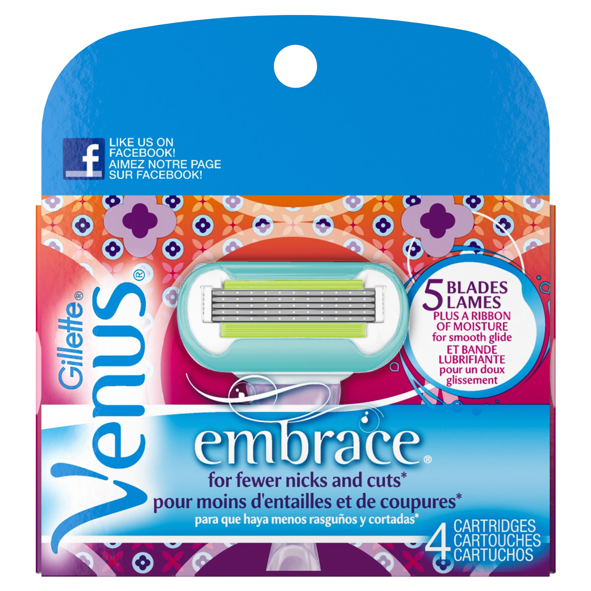 Gillette Venus Embrace Women's Razor Blade Refills, Purple, 4 Count