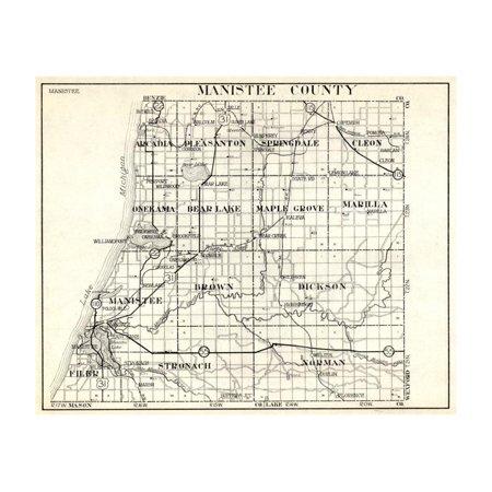 1930, Manistee County, Arcadia, Pleasanton, Springdale, Cleon, Onekama, Bear Lake, Maple Grove, Mic Print Wall -